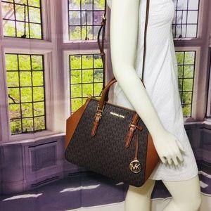 NWT Michael Kors Charlotte Brown large Satchel Bag